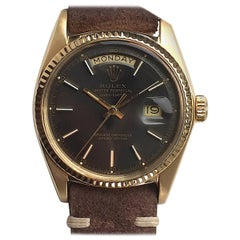 Rolex Yellow Gold Vintage Day-Date Grey Dial Automatic Wristwatch