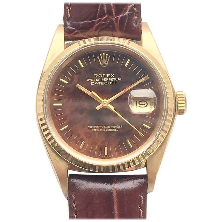 Rolex 18K Yellow Gold Oyster Perpetual Datejust Wristwatch with Wood Dial