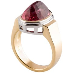 Kian Design 18 Carat Gold 7.38 Carat Orange- Pink Tourmaline Cocktail Ring