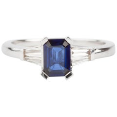 Royal Blue Sapphire and Diamond Engagement Ring