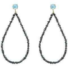 Black Rough Cut Diamond 18 Karat Yellow Gold Blue Topaz Hoop Earrings