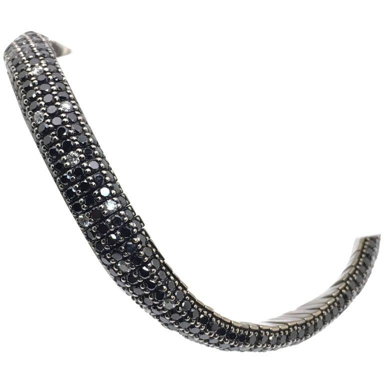 Roberto Demeglio White Gold Bracelet Black an White Diamonds Model Giotto Spot