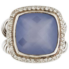 David Yurman Blue Chalcedony Diamond Sterling Albion Ring