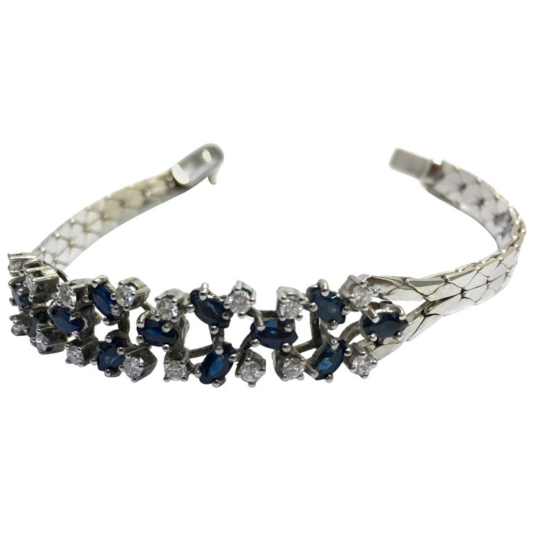 Diamond White Gold and Sapphire Marquise Cut Bangle Bracelet