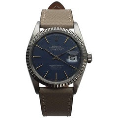 Rolex Stainless Steel Blue Dial Oyster Perpetual Datejust Wristwatch, 1970