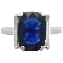 1940s 2.99 Carat Sapphire 0.38 18 Karat White Gold Dress Ring