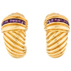 Yurman Amethyst Gold Shrimp Earrings