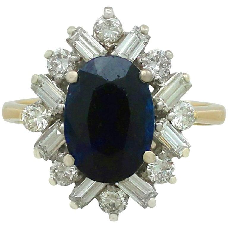 1980s 2.95 Carat Sapphire 0.72 18 Karat Yellow Gold Cluster Ring
