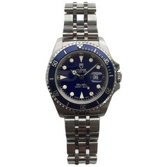 Tudor Stainless Steel Prince Date Blue Mini-Submariner Wristwatch
