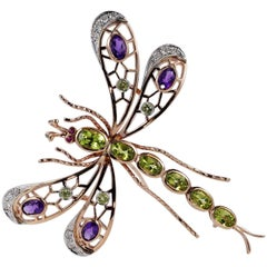 Large Retro Dragonfly Brooch Suffragette Colors Peridot Amethyst and Diamond
