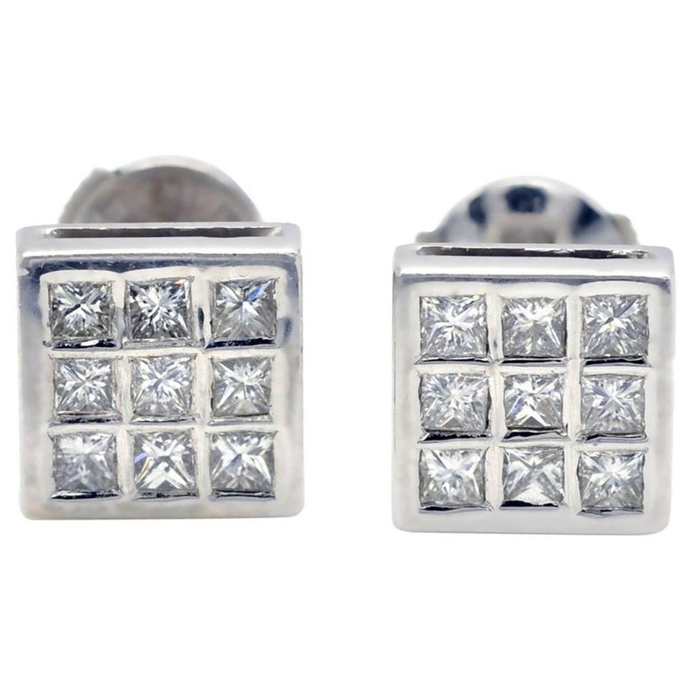 Diamond Princess White-Gold Stud Earrings For Sale