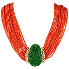 Vintage Natural Red Coral Green Spinach Jade Diamond Necklace