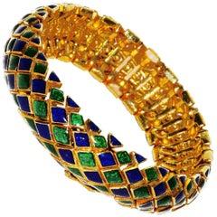 David Webb Harlequin Enamel Bracelet