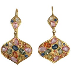 Lauren Harper 8.40 Carat Multicolored Sapphires Gold Drop Earrings