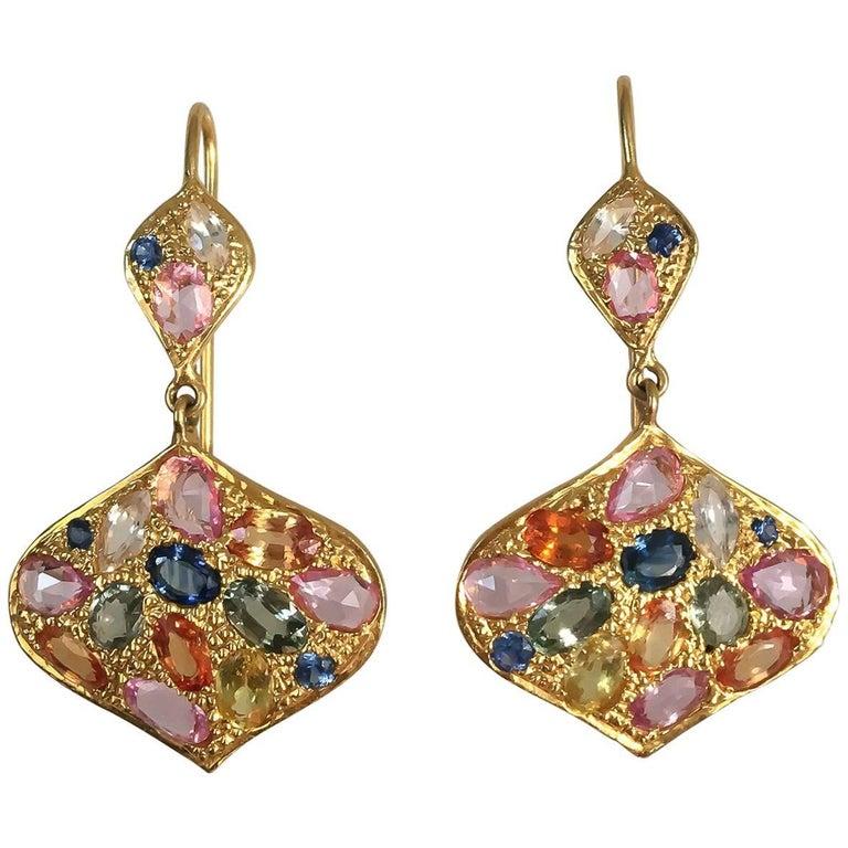 Lauren Harper 8.40 Carat Multicolored Sapphires Gold Drop Earrings