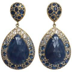 Lauren Harper Blue and White Sapphire, 18 Karat Gold Ombre Post Drop Earrings