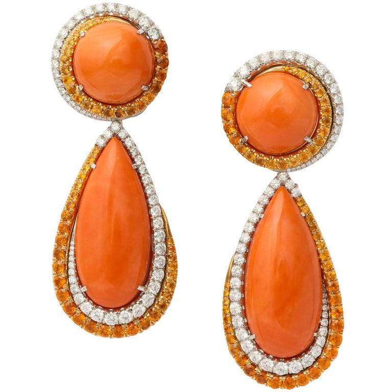 Coral Mandarin Garnet Diamond Drop Earclips