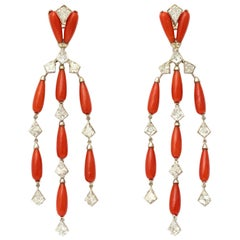 Coral Diamond Platinum Chandelier Earrings