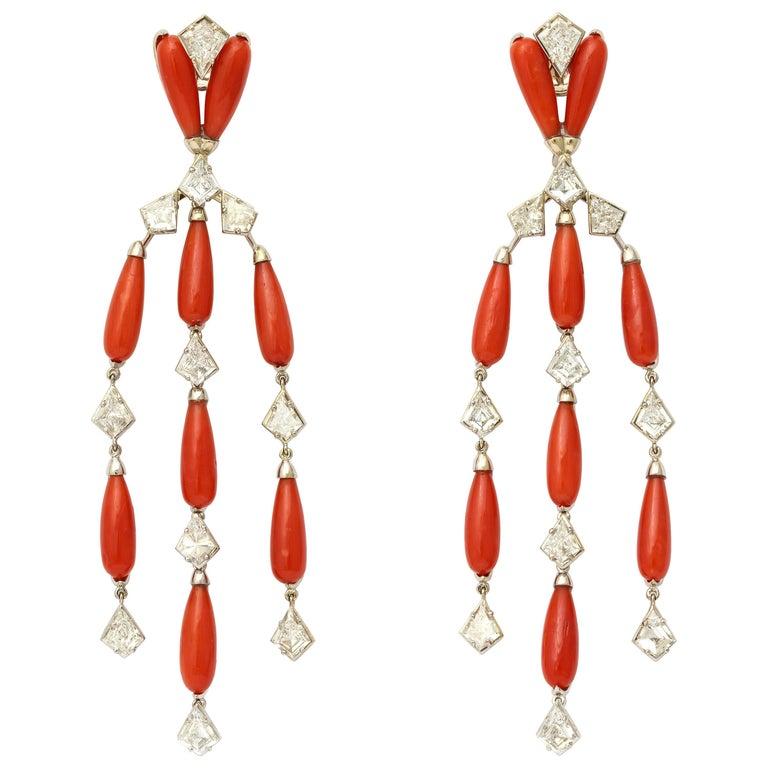 Coral Diamond Platinum Chandelier Earrings