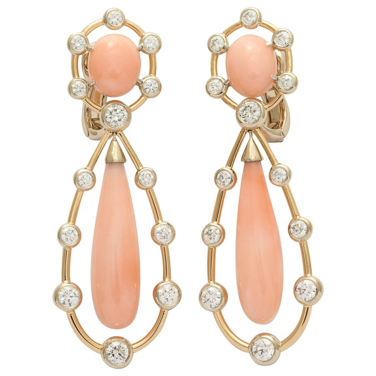 Angel Skin Coral Diamond Gold Drop Earrings