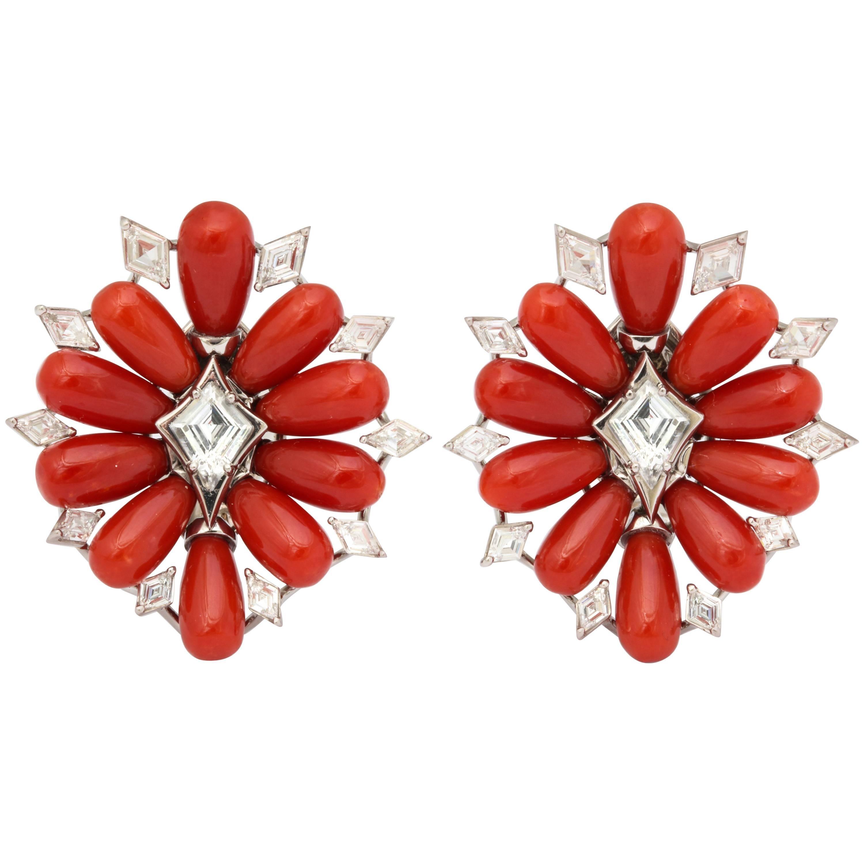 Coral Diamond Platinum Earclips