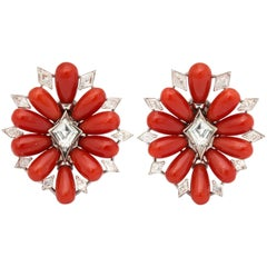 Coral Diamond Platinum Earclips