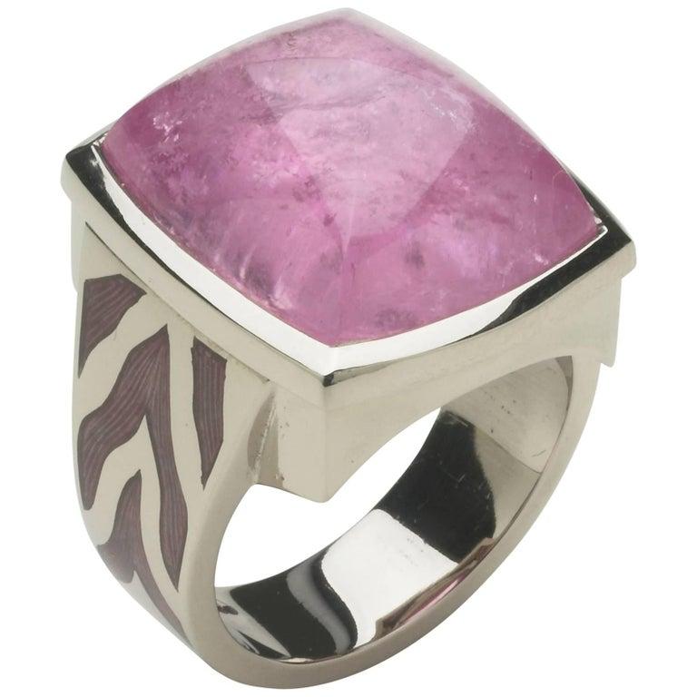 Annabel Eley Pink Tourmaline White Gold Enamel Cocktail Ring