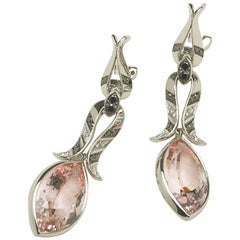 Annabel Eley Marquise Morganite Black White Diamond White Gold Dangle Earrings