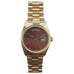 Rolex Yellow Gold Oxblood Stella Day-Date President Wristwatch with Papers