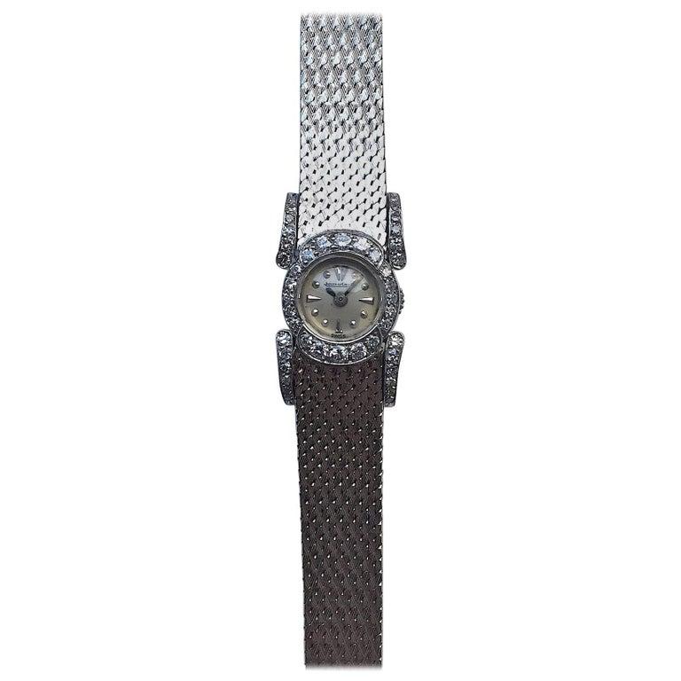 Jaeger LeCoultre Ladies White Gold Diamond Manual Wind Dress Wristwatch
