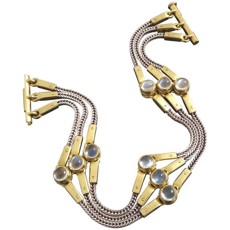 Unique 1990s Thomas Schleede Post-Modernist Moonstone Gold Bracelet