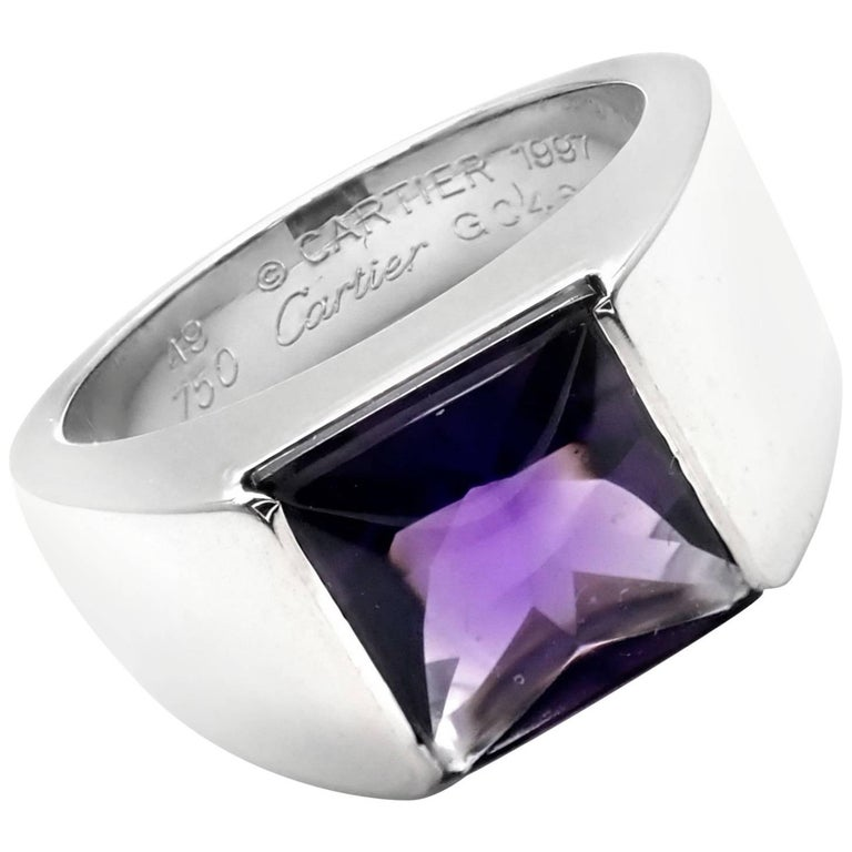 Cartier Tank Amethyst White Gold Band Ring