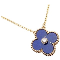 Van Cleef & Arpels Lapis Diamond Limited Edition Yellow Gold Alhambra Necklace