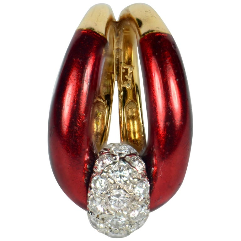 1960s Vourakis Red Enamel Pave Diamond Gold Buckle Ring