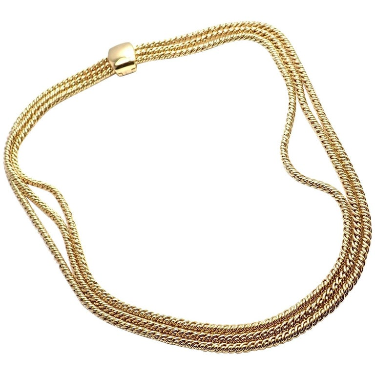 Pomellato Three Rows Twisted Yellow Gold Chain Necklace