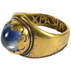 Antique 1912 Christmas Nativity Xmas Blue Sapphire Gold Niello Ring