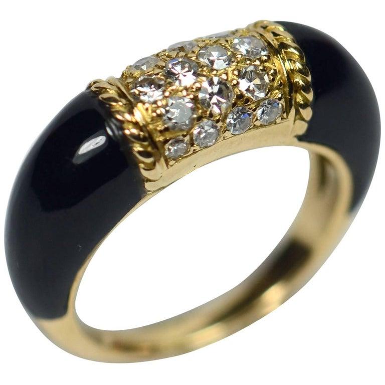 French Black Onyx, Diamond, Yellow Gold 'Philippine' Ring