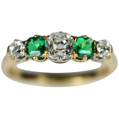 French Emerald Diamond Five-Stone White and Yellow Gold Engagement Ring