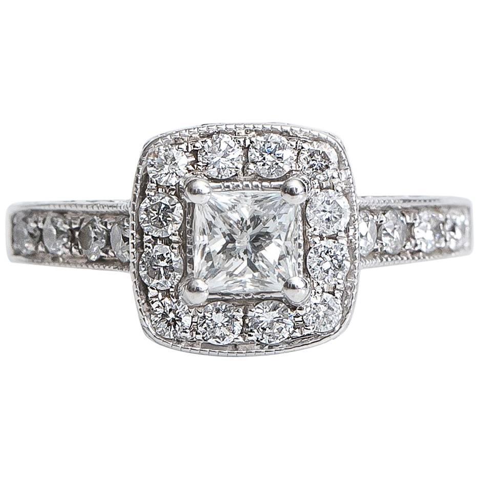 .50 Carat Princess Cut Diamond Halo 14 Karat White Gold Engagement Ring