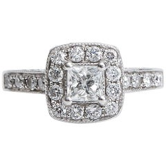 .50 Carat Princess Cut Diamond Halo 14 Karat White Gold Engagement Ring