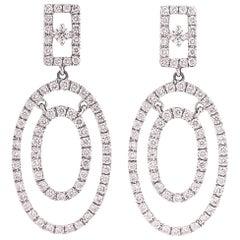 2 Carat Diamond and 18K White Gold Oval Chandelier Earrings