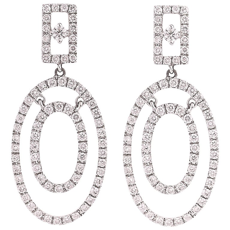 2 Carat Diamond and 18K White Gold Oval Chandelier Earrings For Sale