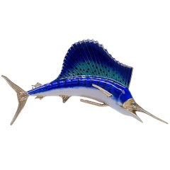 Sailfish Enamel Brooch