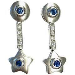 Sapphire and Diamond White Gold Dangling Star Earrings