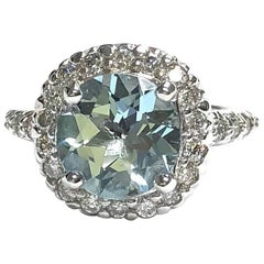 Aquamarine and Diamond White Gold Ring