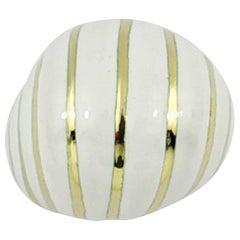 David Webb White Enamel and Yellow Gold Spiral Design Ring