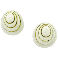 David Webb White Enamel Yellow Gold Button Earrings