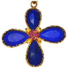 Fabulous, Large 18 Karat, Lapis and Ruby Cross Pendant