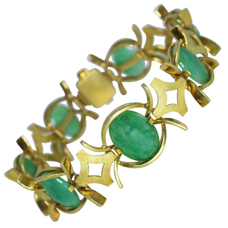 Natural Jadeite and Gold Bracelet