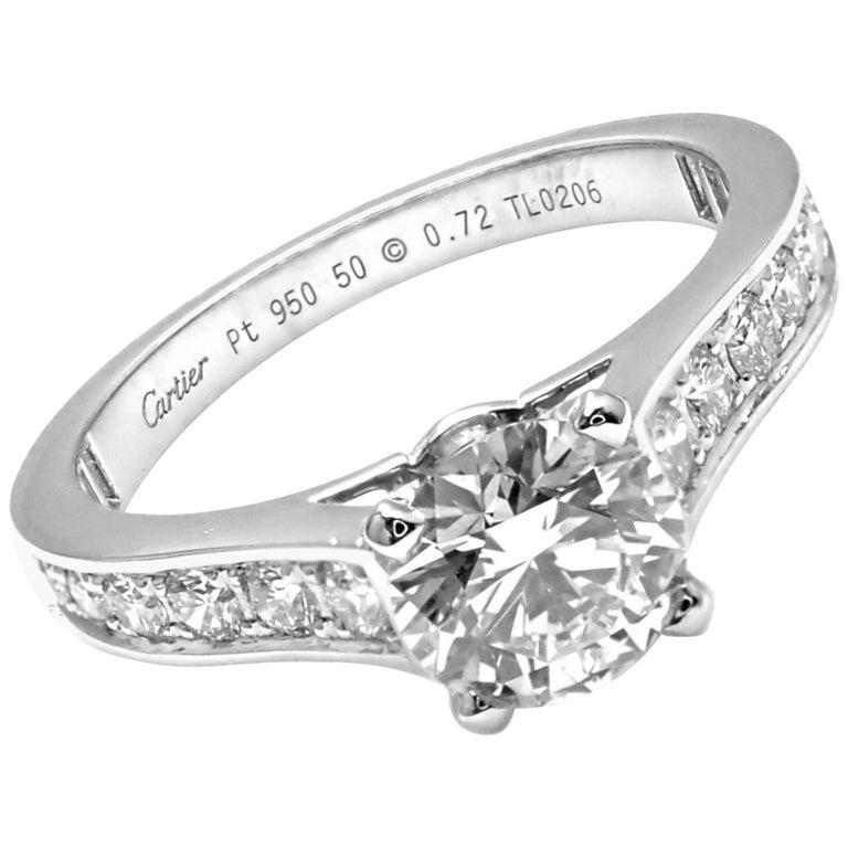 Cartier Diamond Platinum Engagement Solitaire Ring